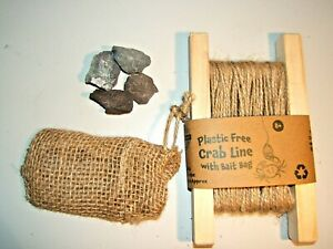 WOODEN ECO-FRIENDLY CRABBING LINE HESSIAN BAIT BAG NO PLASTIC STONE WEIGHTS 10m