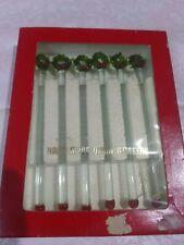 6 Vtg Drulane Towle Christmas Wreath Swizzle Sticks Handmade Glass Stirrers