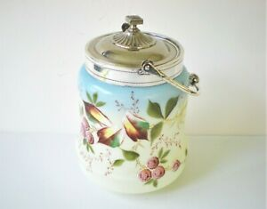 Victorian Hand Painted Floral Custard Glass Biscuit Jar with Handle & Cover