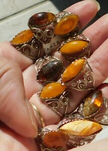 Lot of 10 Amber Rings Lithuania Size 7-8 9-10 5-6 8-9 6-7  Nickel Silver Tn Metl