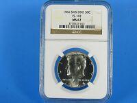 1966 SMS  Silver Kennedy Half Dollar,  DDO  FS-102  NGC  Pf 67