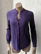 EQUIPMENT Femme Silk Purple Long Mandarin Collar Button Top Size XS SEE DETAILS