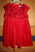 M&S Baby Girls Red Velvet Christmas Party Dress 12 - 18 Months Festive