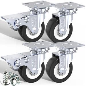 DSL Heavy Duty 50mm 240KG PU Swivel Castor Wheel Furniture Trolley Caster Rubber