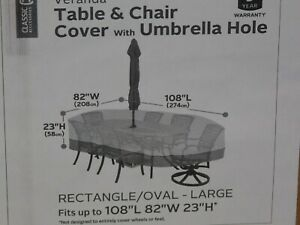 TABLE AND CHAIR UMBRELLA HOLE SET PATIO FURNITURE COVER 108L X 82W X 23H BEIGE