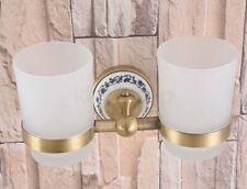 Antique Brass Wall Mounted Toothbrush Holder Double cup, Bathroom Tumbler Holder