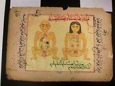 Antique OttomanTurkish Manuscript leaf with medical drawing circa 1700 15x22 cm