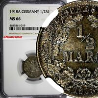 Germany - Empire Wilhelm II Silver 1918 A 1/2 Mark NGC MS66 GEM BU COIN KM# 17