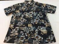 Columbia Slate Gray Tropical Flowers Mens XL Hawaiian Short Sleeve Shirt EUC