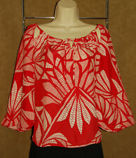 ALICE & TRIXIE - Red & White - Design  100% SILK Summery BLOUSE sz XS *NYC USA!