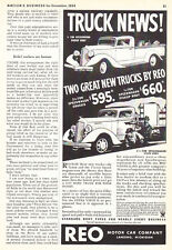 1935 REO Speed Wagon Pickup & Stake Body Truck Art vintage promo print ad