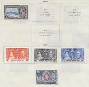 5 British Honduras Stamps from Quality Old Antique Album 1935-1937