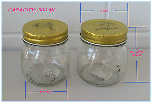 24 x Screw Top Premium Preserving Glass Jam Jar (300 ml) - Pattern on Seal Lid