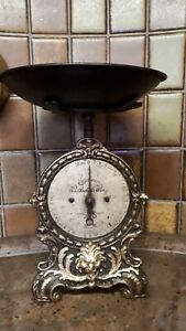 alte antike Küchenwaage Haushaltswaage 10 kg Gusseisen Wirthschaftswaage