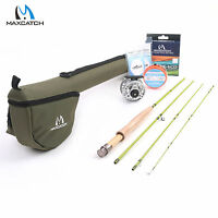 Maxcatch Fly Fishing Rod & Reel Combo 3WT 7'6'' 4Sec 3/4WT Fly Line Backing Kit