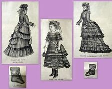 PATRON LA MODE ILLUSTREE, vêtement poupée ancienne, n° 49 de 1876, DOLL PATTERN
