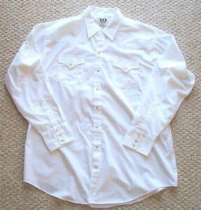 Mens Ely Cattleman Long Sleeve White Pearl Snap Shirt Size XXLT