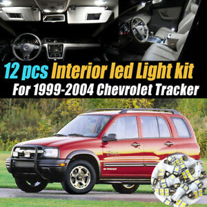 12Pc Super White Car Interior LED Light Bulb Kit for 1999-2004 Chevrolet Tracker