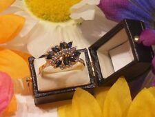 Estate 14k Yellow Gold Diamond & Marquise Cut Sapphire Ring Size 10
