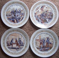 "4set LIMOGES France 8"" plates French-American Scenes of 1777 Revolution War/Peac"