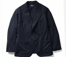 $690 RRL Ralph Lauren Navy Seal Japanese Indigo Wool Cotton Sport Coat Jacket- L