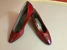 "Margaret Jerrold Women's Shoes Vtg 80's 1.75"" Pump Studded Pink Red Purple Sz 9S"
