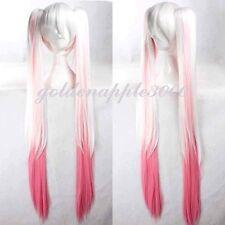 "47""VOCALOID Sakura Hatsune Miku White Mixed Pink 2 Clip on Ponytail  Cosplay Wig"
