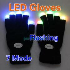 1 Pair Cool LED Rave Flashing Gloves Glow 7 Mode Light Up Finger Lighting Black