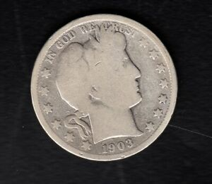 """USA SILVER COIN ,50 CENT, 1903 year  """"BARBER"""""""