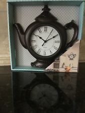 "12"" Tea Pot Kettle Wall Clock Battery Operated Bronze Brown.  Kitchen Decor"
