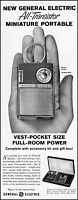 1960 General Electric all-transistor miniature radio retro photo print ad adl75