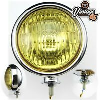 Classic Car 12V Polished Stainless Steel Chrome Front Amber Foglight Fog Lamp