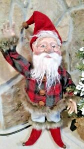 "NWT 18"" Realistic Santa's ELF Red Gray Plaid Jacket Christmas Prop Doll Figure"