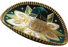 Adult Mexican Mariachi Hat Sombrero Charro Cinco de Mayo Folk Art Green Gold