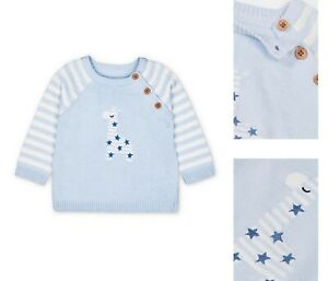 BNWT Mothercare Baby Boys Blue White Soft Cotton Knitted Giraffe Sweater Jumper