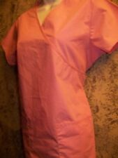 Mock wrap solid pink Scrubs Nick Sarah top nurse medical dental vet uniform S