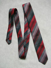 Ragazzi Cravatta Vintage Cravatta Età 4-10 Rosso Grigio a Righe