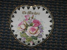 "Lefton-China Heart Plate-To Mother-Roses-5 7/8""-vintage"