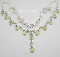 925 Sterling Silver MARQUISE PERIDOT Gemstones Curb Chain Necklace 17.9""
