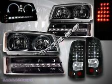 2003-2006 CHEVY SILVERADO BLK HALO HEADLIGHTS LED / LED BUMPER / LED TAIL LIGHTS
