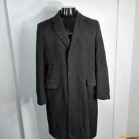 St. MICHAEL Vtg Long Wool Coat Overcoat Mens Size L 42 Dark Gray