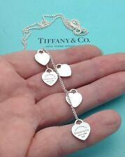 Tiffany & Co. Sterling Silver 'Return To Tiffany' 5 Heart Drop Dangle Necklace