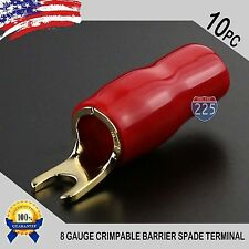 GOLD PLATED SPADE FORK 8 GAUGE TERMINAL RED 10 PACK INSULATED CONNECTOR CRIMP US