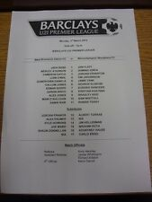 03/03/2014 West Bromwich Albion U21 v Wolverhampton Wanderers U21  (single sheet