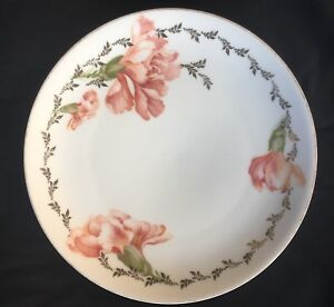 "RS Germany 8.5"" Plate Peach Orange Painted Flowers Gold Trim"