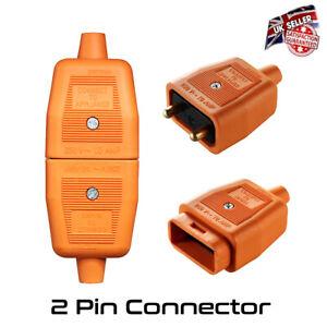 Lawnmower Cable Connector Plug & Socket 2 Pin Fit Flymo Flex Orange 10 Amp *UK*