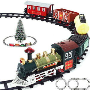 Battery Operated Classic Double Round Christmas Toy Train Set With Sound Light