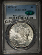 1878-CC $1 Morgan Silver Dollar - PCGS CAC MS 64 - Frosty Carson City - #X430