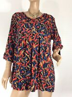 🌻 BLUE ILLUSION SIZE 3 L PLEATED TUNIC SMOCK AS NEW