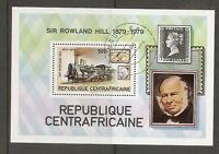 Central African Republic SC # 402 Locomotive, Sir Rowland Hill. Souvenir S.MNH